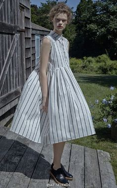 This sleeveless oversized pleated **Brock Collection** dress is rendered in blue and white stripe cotton and features a standard collar, raw finishing detail at the armholes, diagonal seam detail at the sides, and side seam pockets. Dress Outfits, Dress Up, Fashion Week, Womens Fashion, Street Style, Stripes Fashion, Costume, Dress Collection, Style Inspiration