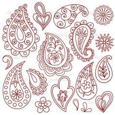 Doodle Designs | Henna Paisley Flower Doodle Vector Design Elements Set | Stock Vector ...