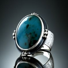 Inspiration Mine Gem Silica Chrysocolla Ring.  Fabricated Sterling Silver. www.amybuettner.com https://www.facebook.com/pages/Metalsmiths-Amy-Buettner-Tucker-Glasow/101876779907812?ref=hl https://www.etsy.com/people/amybuettner http://instagram.com/amybuettnertuckerglasow