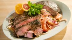 Espresso and Cocoa Rubbed Flank Steak with a Citrus and Plum Salad  by Emeril Lagasse