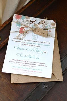 Mason Jar Wedding Invitation with Kraft Envelope - Rustic Wedding Invitation Love Tag and Hemp Twine| Shabby Chic Coral Turquoise Wedding by PaintTheDayDesigns, $50.00
