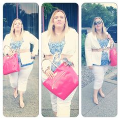 WWW.FLIGHTOFTHEFATGIRL.COM wearing statement belt from Rue 114, Michel Studio blazer, Addition Elle capris, Cynthia Rowley blouse, Coach loafers, and Kate Spade tote.