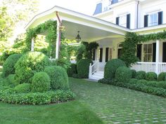 Grass-jointed, recycled granite cobbles create the drive for this traditional home in the hamptons. A palette of green plant material, including, Boxwood, Wisteria and English Ivy contrast with the crisp, white, traditional architecture. Architecture by Haynes Roberts, Landscape by Hollander Design