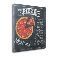 Tangletown Fine Art 'Pizza' by Jo Moulton Vintage Advertisement on Wrapped Canvas