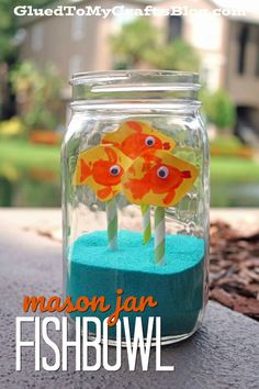 Mason Jar Fishbowl w/Thumbprint Fish - Kid Craft