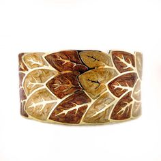 Leaves Print Golden Enamel Thick Cuff