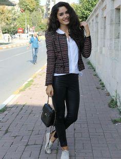 """Zara Tweed Blazer, Vintage Bag, Topshop Coated Pants, Topshop Shoes //""""Istanbul fashion week day 1"""" by Berrilla Blog // LOOKBOOK.nu"""