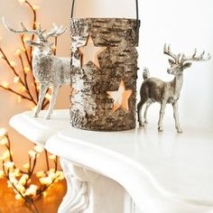 Birch bark cut out and wrap around vase or clear pail Christmas ornaments
