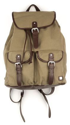Pu/Canvas Backpack - Olive by Block Accessories