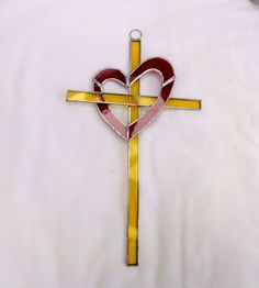 stained glass Entwined Heart and Cross Suncatcher