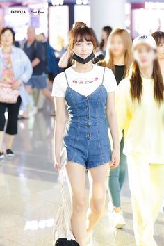 Japanese Girl Group, Kpop Fashion, Airport Fashion, Airport Style, Overall Shorts, Overalls, Shit Happens, Pants, Color