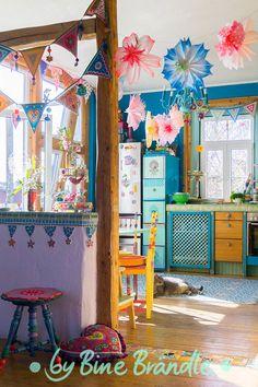 Bunte Küche von Bine Brändle ;-) happyhome, colorfulhome, colorfulinterior, DIY, gipsystyle