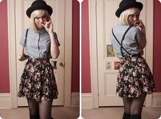 Floral skirt with suspenders
