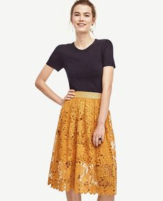 Always a standout, this full-skirted charmer gets a spring refresh in sun-kissed color and richly embroidered floral lace. Lined. Work Skirts, Work Fashion, Women's Fashion, Swing Skirt, Skirt Outfits, Fashion Pictures, Playing Dress Up, Get Dressed, Spring Outfits