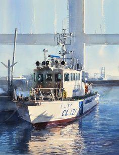 巡視艇2,Patrol boat2,Original Watercolor painting by Masato Watanabe