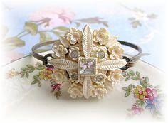 Vintage Carved Floral Button Cuff Bracelet Rhinestones Off White Bridal