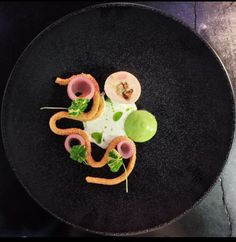 Chicken Ballotine and Its Hazelnut Coated Mousse with Smoked Leek, Pickled Onion and Buttermilk Dressing