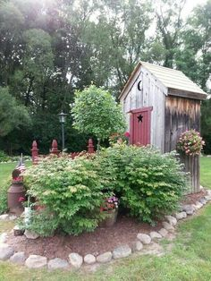 What a fun idea, for a shed in the back yard. Ode to the Outhouse! Garden Structures, Outdoor Structures, Garden Gates, Garden Sheds, Backyard Sheds, Garden Storage Shed, Storage Sheds, Garden Landscaping, Farmhouse Landscaping