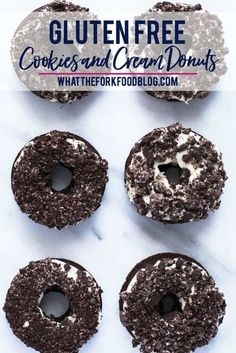 Gluten Free Cookies and Cream Donuts from What the Fork are a baked chocolate cake donut topped with a cream cheese icing and crushed chocolate sandwich cookies. A donut lover's dream! Perfect for brunch, donut birthday parties, donut walls, or even a donut wedding cake! This recipe is easy to follow with a dairy free option. Gluten Free Donuts, Gluten Free Appetizers, Gluten Free Snacks, Gluten Free Breakfasts, Chocolate Cake Donuts, Chocolate Recipes, Oreo Donuts, Baked Donuts, Chocolate Oreo