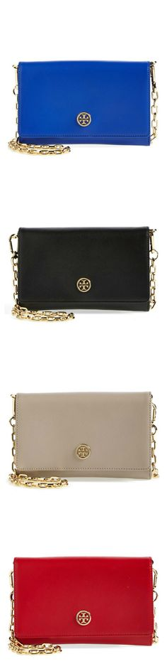 Classic and elegant | Tory Burch 'Robinson' leather wallet on a chain....I'll take one of each color please