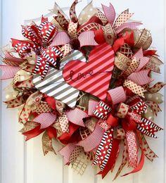 Valentine Wreath, Valentine's Day Wreath, Burlap Valentine Wreath, Love Wreath, Valentine Decor, Valentine Door Wreath, red white burlap by PinkBluebonnet on Etsy https://www.etsy.com/listing/489979750/valentine-wreath-valentines-day-wreath