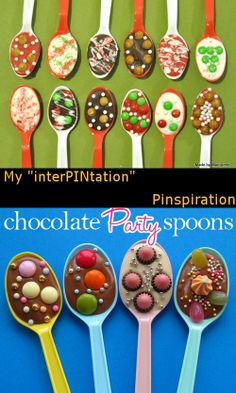 Here are the Hot Cocoa Stirring Spoons I made, and the original pinspiration (from http://pizzazzerie.com/diy/diy-chocolate-stirring-spoons/)  http://madebymarquette.blogspot.com/2011/12/hot-cocoa-stirring-spoons.html
