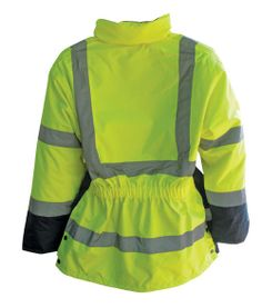Ladies Hi-Vis Safety Parka.  OMG, it has a waist band to trap body heat!  Nothing like updrafts under your coat.   $70.