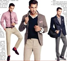 Men's business casual allows you to explore new styles, colors and textures. Here are some ways to expand your business casual wardrobe. Corporate Attire, Business Casual Attire, Business Outfits, Business Fashion, Professional Attire, Casual Suit Styles, Casual Wear For Men, Gq, Business Formal Women