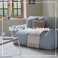We've just invented a squishy new sofa category which we're calling 'sofa squidgers'. They're cleverly deconstructed - so there are no hard edges - and filled with marshmallowy foam bags that keep bouncing back. Because they're squeezable they are absolutely ace in tight spaces and brilliant for bouncing - as we discovered when we had them tested by our kids. Pleated Curtains, Curtains With Blinds, Curtain Accessories, Pencil Pleat, Attic Rooms, Sofa, Couch, Roman Blinds, Deconstruction