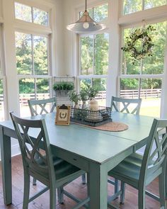 Windows on left and center wall. Built in buffet on right wall Cottage Living, Cozy Cottage, Modern Farmhouse, Farmhouse Style, Turquoise Cottage, Built In Buffet, Duck Egg Blue, Outdoor Furniture Sets, Outdoor Decor