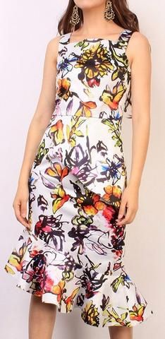 Asymmetrical Multi Colored Floral Print Dress - White