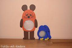 Wir haben Laternen für den Martinsumzug gebastelt. Die Maus und den Elefanten aus der Sendung mit der Maus / den Lach- und Sachgeschichten.