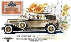 Duesenberg ads | Duesenberg Automobile & Motors Company, Inc. Stock Certificate - 1924
