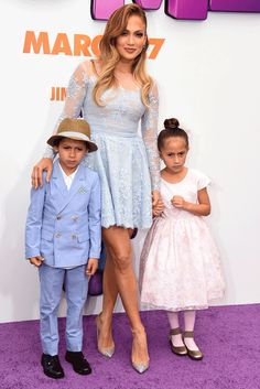 Jennifer Lopez brought her gorgeous kids Max and Emme to the Home premiere on Sunday, March 22, and the 7-year-old twins looked adorable in their red carpet (well, purple carpet!) outfits.