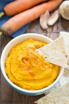 Roasted Carrot and Garlic Hummus recipe, so yummy and healthy for lunch or snack!