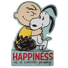 Add a bit of vintage charm to your cozy home with Happiness Is A Warm Puppy Charlie Brown Sign. Featuring an adorable depiction of Charlie Brown and Snoopy in a Snoopy Love, Charlie Brown And Snoopy, All The Small Things, Decorative Signs, Wall Decor, Wall Art, Pet Shop, Wall Signs, Hobby Lobby