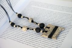 RAKU pottery necklace ceramic jewelry by RakuPotteryCreations, $35.00