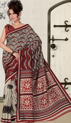 $30.82 Red and Gray Printed Casual Wear Saree 23623