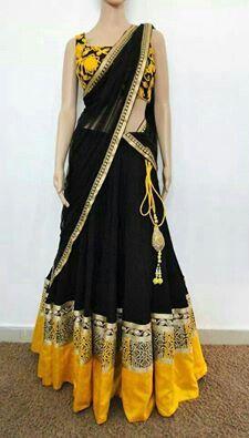 #yellow #black #Lehenga #saree