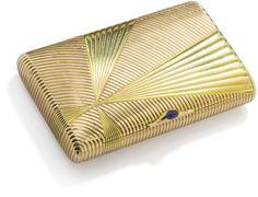 PHILLIPS : UK060111, , A two-colour gold and sapphire cigarette case, by Alexander Tillander