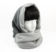 Hooded scarf/reversible scarf/circle scarf/cowl neck by Jousilook Loop Scarf, Circle Scarf, Hooded Cowl, Cowl Neck Hoodie, Presents For Her, Grey Scarf, Make Photo, Direct Sales, Keep Warm