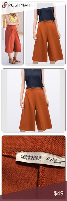 Zara Brick Summer Culottes Size Small BRAND NEW WITH TAGS. No trades Zara Pants Trousers