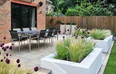 Modernes Pflanzdesign, Balkon & Terrassenpflanzen, Pflanzen für Kübel, Stipa tenuissima, Allium sphaerocephalon,  Terrassengestaltung,