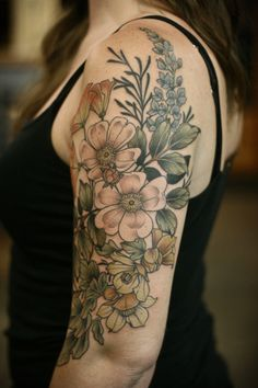 California native plants for Lida. Thank you for sitting so tough! We did this in one giant sitting. California wild rose, California poppy, California sagebrush silhouettes, lupine, and. Vintage Blume Tattoo, Vintage Flower Tattoo, Tattoo Vintage, Vintage Flowers, Tattoo Floral, Tattoo Girls, Girl Tattoos, Tatoos, Feather Tattoos
