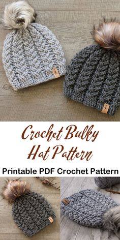 Make a Cozy Hat with Bulky Yarn – Knitting And Crochet Crochet Beanie, Cute Crochet, Crochet Crafts, Yarn Crafts, Crochet Projects, Knitted Hats, Easy Crochet Hat, Crochet Ornaments, Crochet Snowflakes