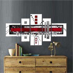 Nueva llegada! rojo blanco negro moderno abstracto decorativo de pared cuadros estilo simple mano de la decoración de pintura al óleo sobre lienzo t5p54(China (Mainland))