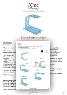 PHONE SCANNER STAND Laser cutting template plans by CncFactory
