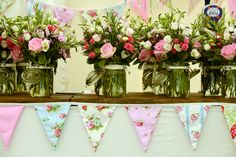 bunting & table flowers