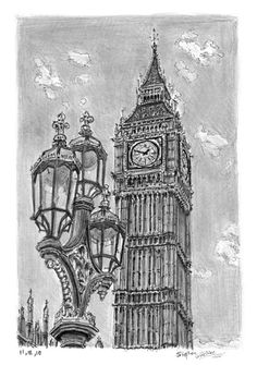 Big Ben - Original drawings, prints and limited editions by Stephen Wiltshire - Big Ben – drawings and paintings by Stephen Wiltshire MBE - Big Ben Tattoo, Stephen Wiltshire, Art Sketches, Art Drawings, Autistic Artist, London Drawing, Building Drawing, Desenho Tattoo, A Level Art