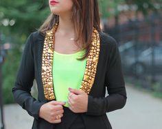 Wearing my AZZA studded blazer on ChiCityFashion.com